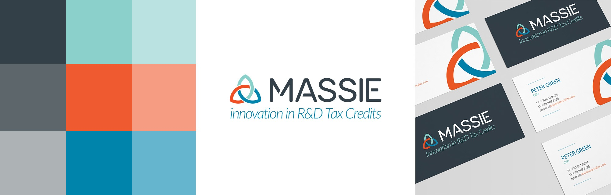 image of new massie logo, color pallet, and business cards